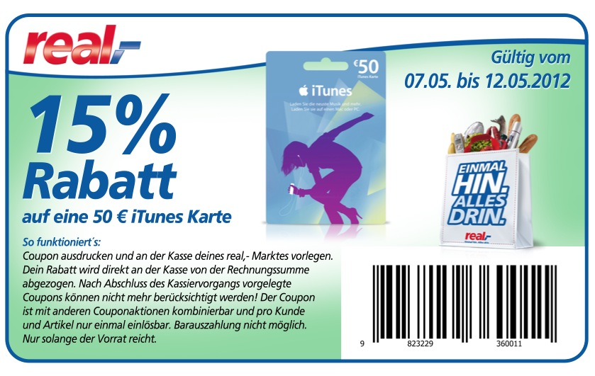 real iTunes Gutschein Coupon