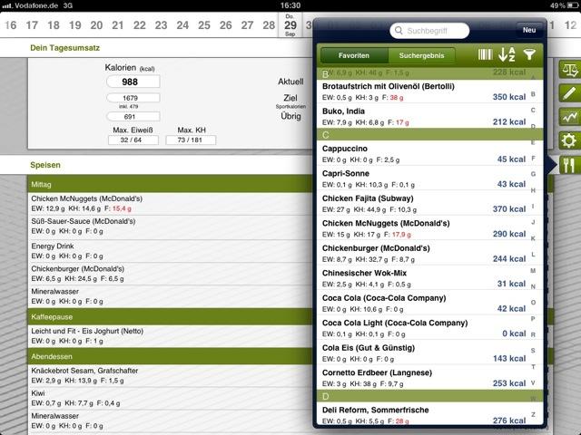 Calory Guard Pro auf dem iPad