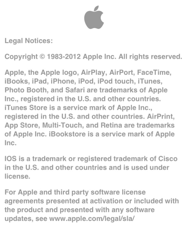 Apple legal notice