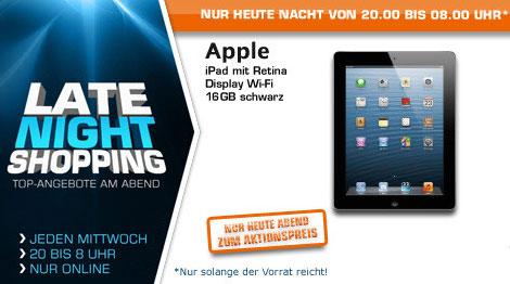 saturn late night shopping ipad 4 16gb wifi ab 20 uhr im. Black Bedroom Furniture Sets. Home Design Ideas