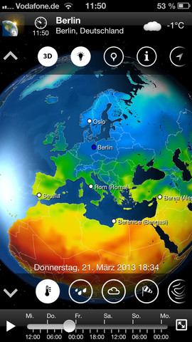 MeteoEarth auf dem iPhone