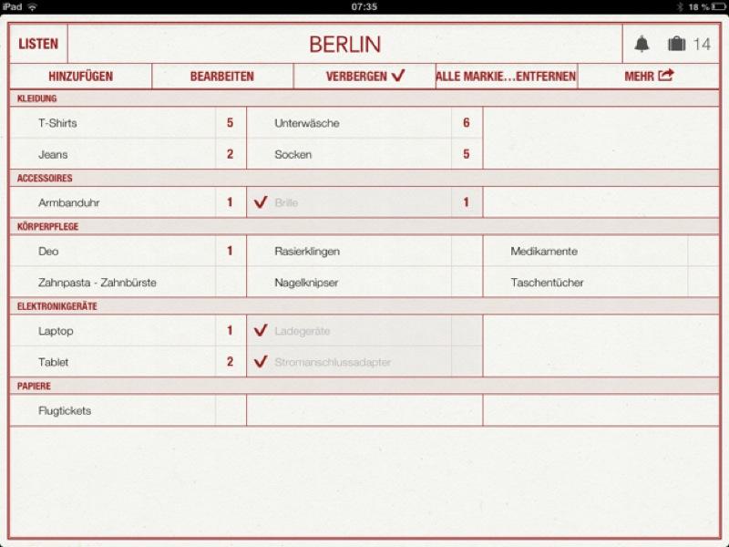 Mein Reiseplaner iPad