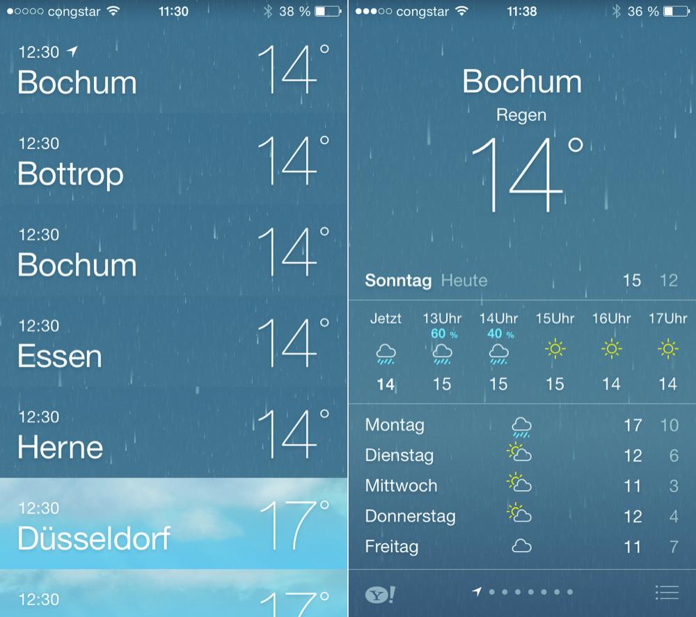 Wetter Zeitumstellung iOS 7
