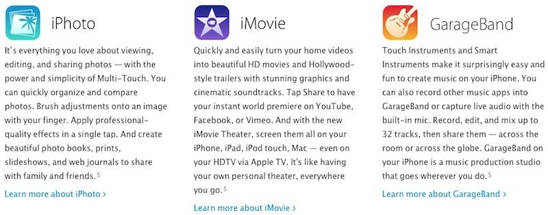 iLife Apps fur iOS