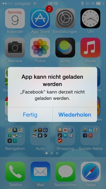 Facebook App kann nicht geladen werden