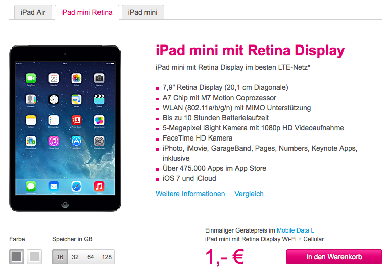 iPad mini mit Retina-Display Telekom