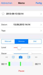 Audio Memos Diktiergerät für iOS