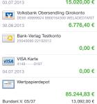 Banking 4i Übersicht der Umsätze
