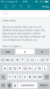 SwiftKey Note schneller tippen mit iOS