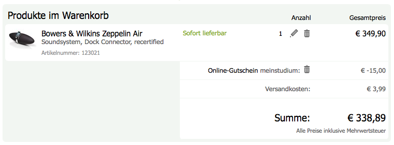Gravis Bestellung Zeppelin Air