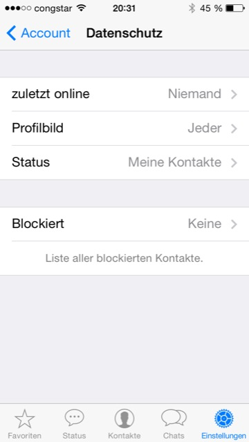 Whatsapp Einstellungen