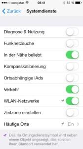 iOS 7 Ortungsdienste Systemdienste