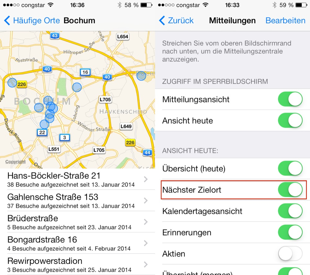 iOS 7 häufige Orte & nächster Zielort
