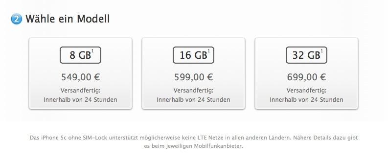 iPhone 5c Preise