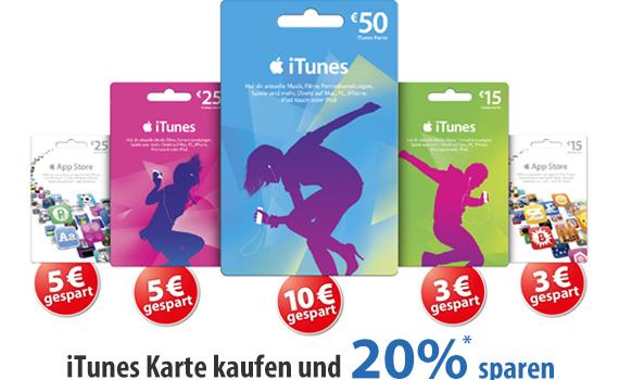 iTunes Karten Rabatt Mueller