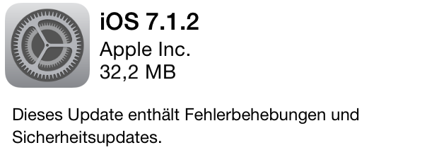 iOS 7.1.2 - Update von Apple