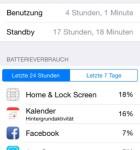 iOS 8 Einstellungen Batterieverbrauch