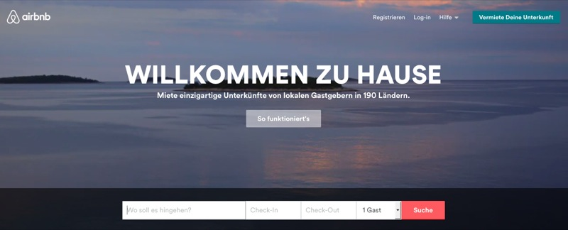 Airbnb Webseite