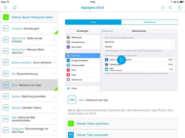 100 Video-Tipps zu iOS 8 2