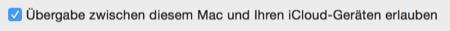 Handoff am Mac aktivieren