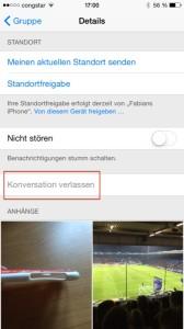 iOS 8 Konversation Verlassen im Gruppenchat