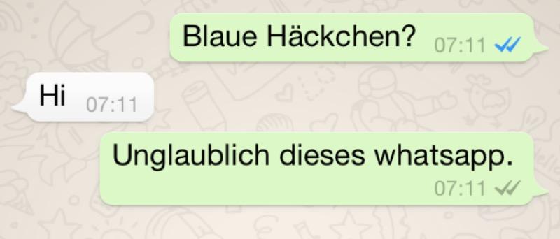 WhatsApp Blaue haeckchen