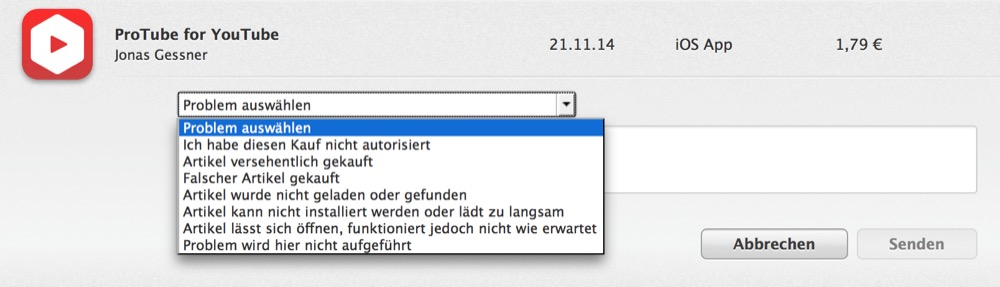 Widerruf iTUnes