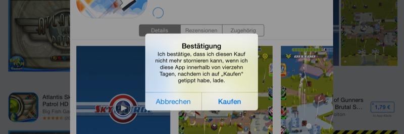 App Store Widerrufsrecht