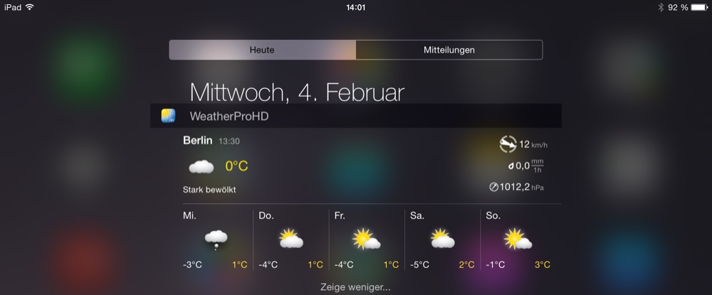 WeatherPro iPad Widget