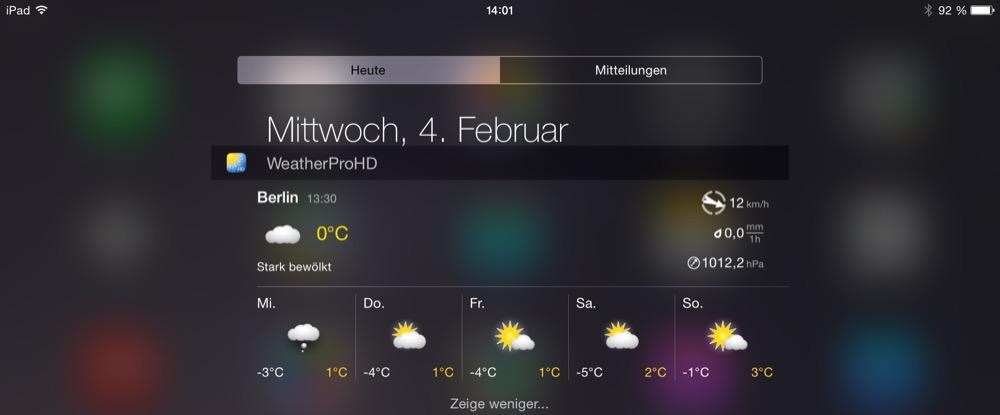 WeatherPro iPad Widget