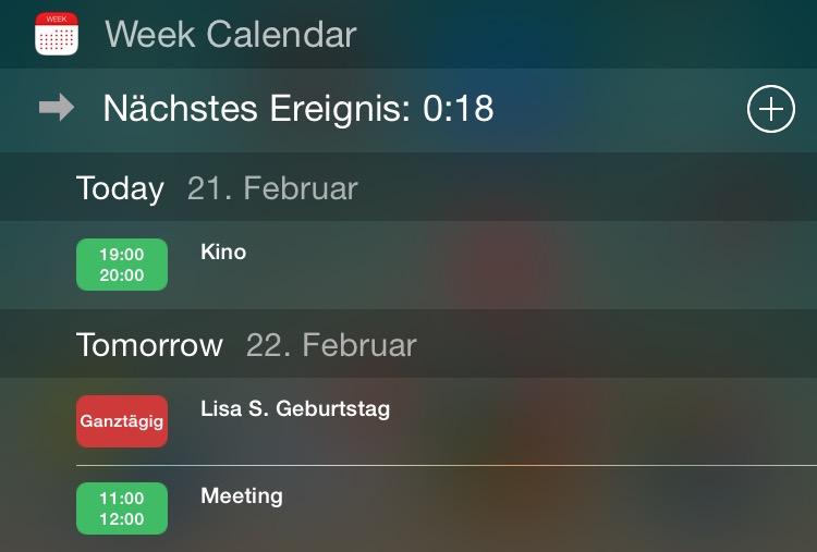 Week Calendar widget