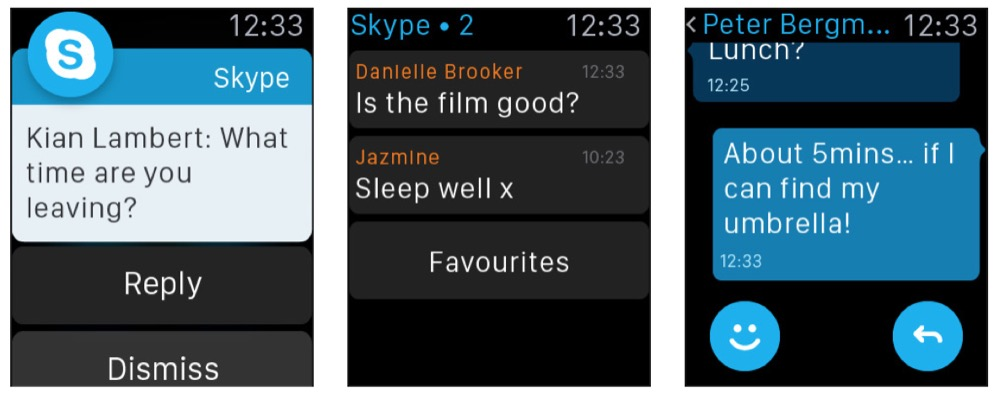 Skype apple watch app