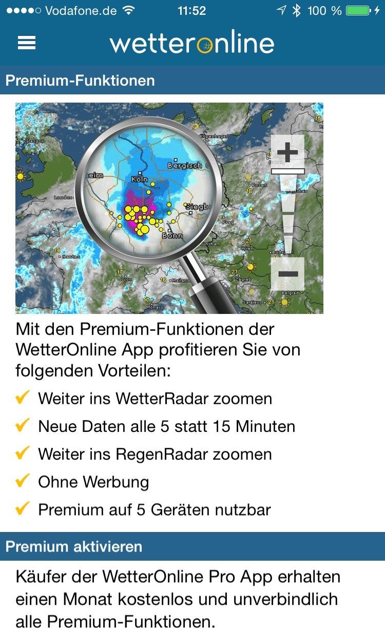 WetterOnline: Premium-Funktionen per In-App-Kauf