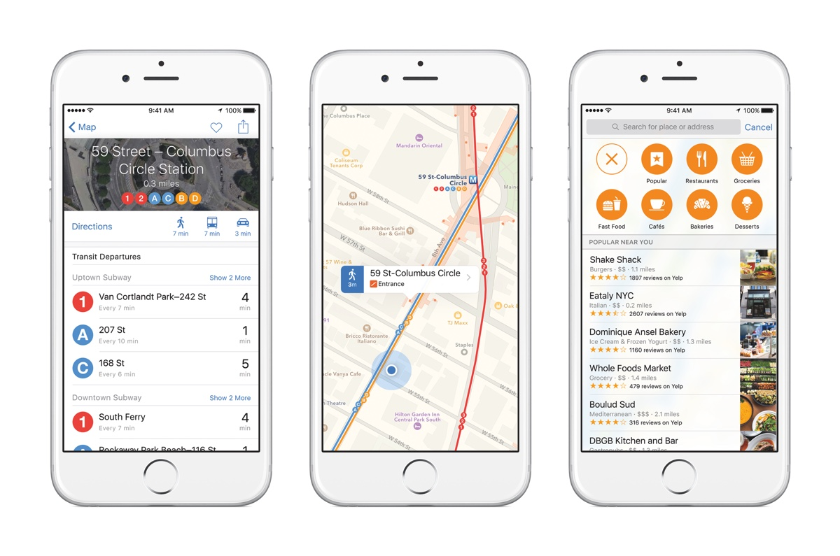 iOS 9 Maps Transit
