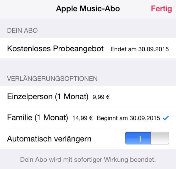 Apple Music: Automatisch verlängern oder Abo mit