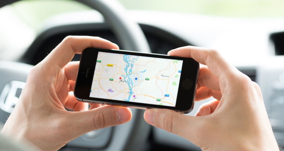 Google Maps navigation on Apple iPhone