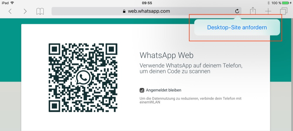 whatsapp web ipad code