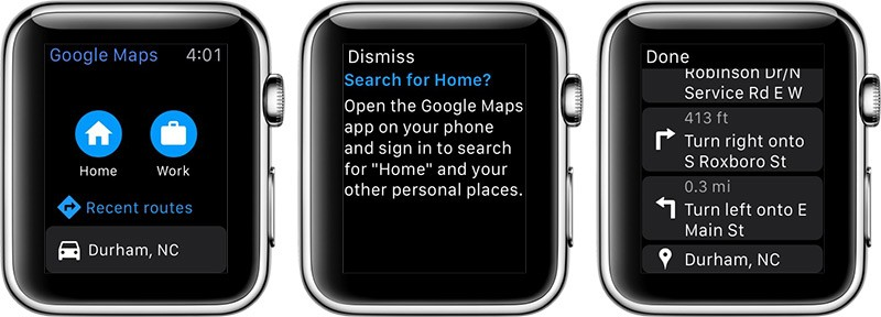google maps apple watch