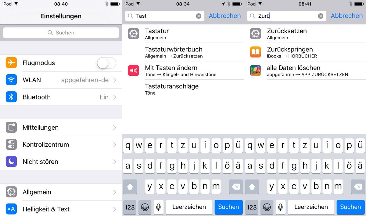 iOS 9 Einstellungen Suche
