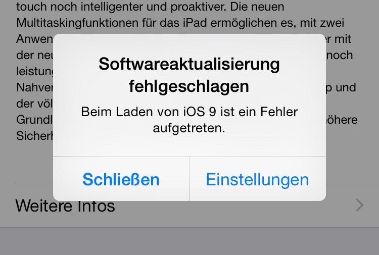 iOS 9 Fehler Laden aufgetreten