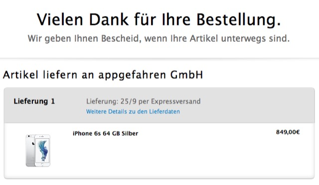 iPhone 6 Bestellung