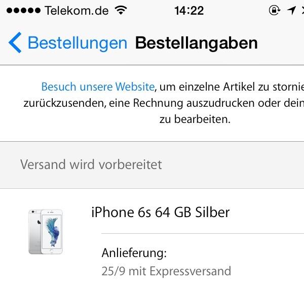 iPhone 6s Versand