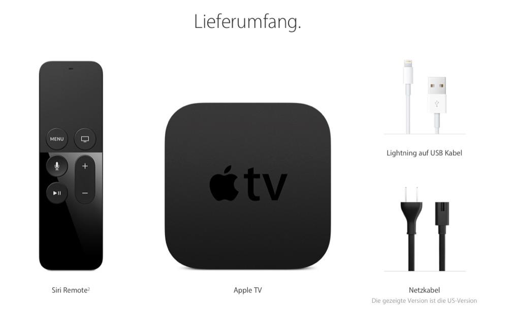 Apple TV LIeferumfang