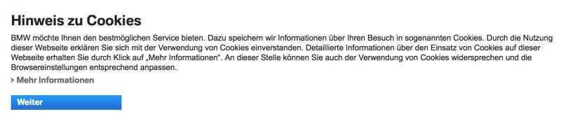Cookie Hinweis BMW