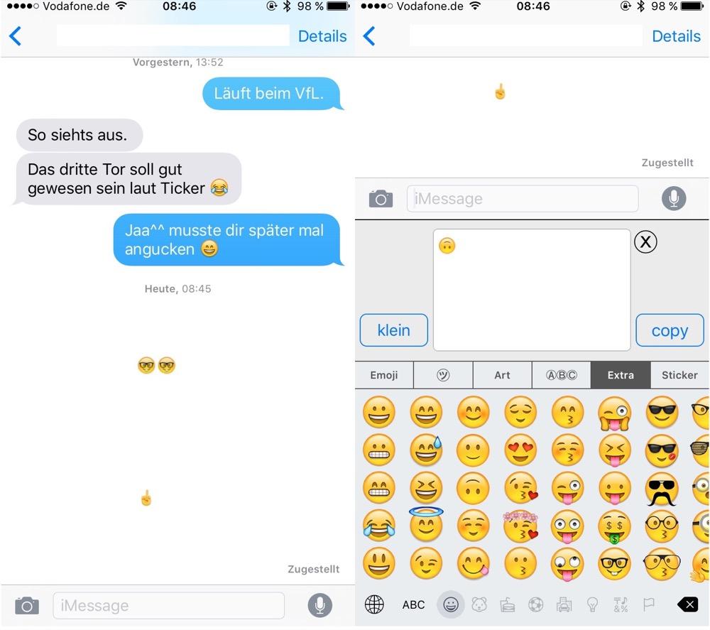 Neue Emoji Tastatur