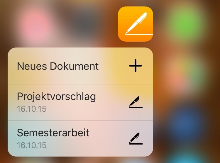 Pages 3d touch