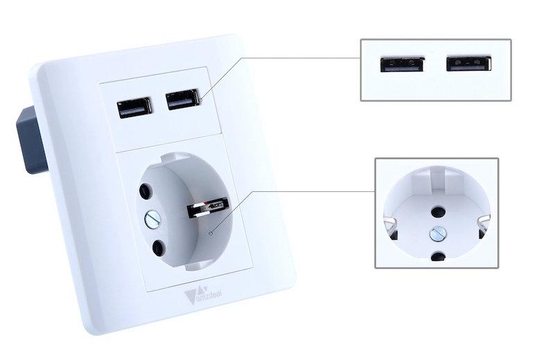 unterputz steckdose mit zwei usb anschl ssen f r 10 99 euro. Black Bedroom Furniture Sets. Home Design Ideas