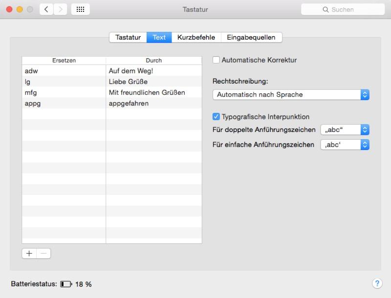 Textbausteine Mac