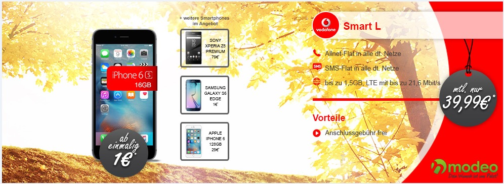 vodafone smart l iphone 6s mit allnet flat und lte ab. Black Bedroom Furniture Sets. Home Design Ideas