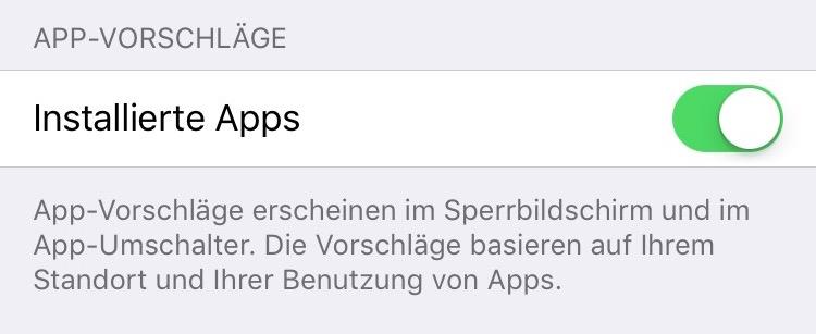 iOS Einstellungen App Vorschlaege